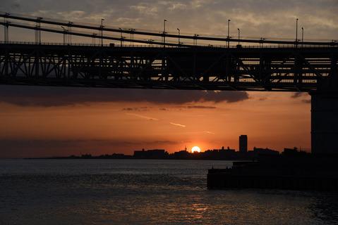 明石海峡大橋の夕陽8