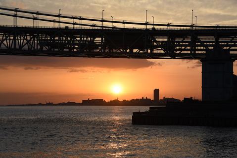 明石海峡大橋の夕陽5