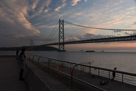 明石海峡大橋の夕陽9