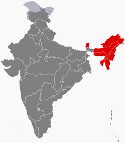 インド北東部地図NEとシッキム