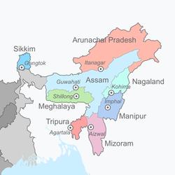 インド北東部地図拡大