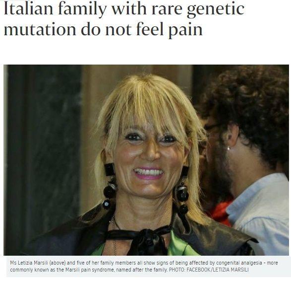 マルシリ症候群 火傷も骨折も気づかない、痛みを感じないイタリアの一族に世界の研究者が注目…遺伝子の変異を確認