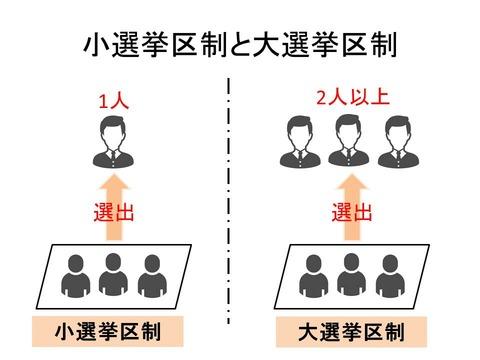 小選挙区制と大選挙区制のイメージ