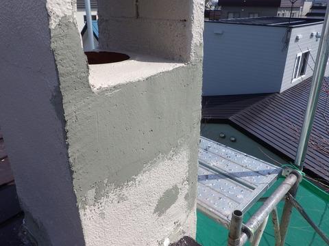 大きく補修した煙突