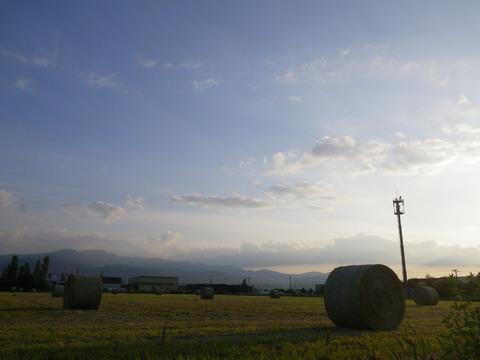 夕暮れの牧草ロール