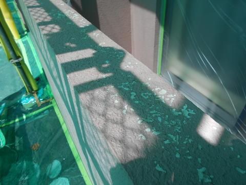 手摺天場は高圧水洗浄でかなり剥がれた