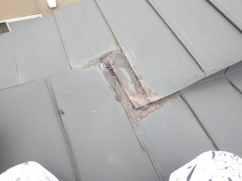 屋根トタン端部の既存防水