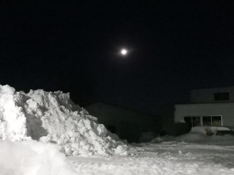 冬空に丸い月