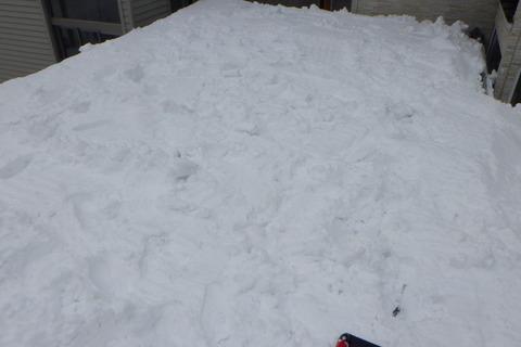 車庫上の雪も落とします