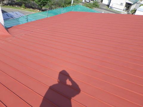 屋根赤錆色サビ止め塗装