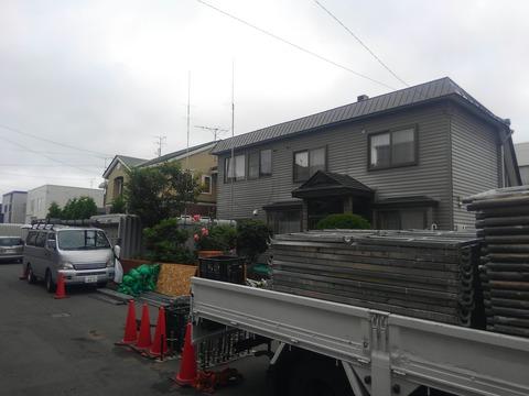 北区太平住宅、足場仮設