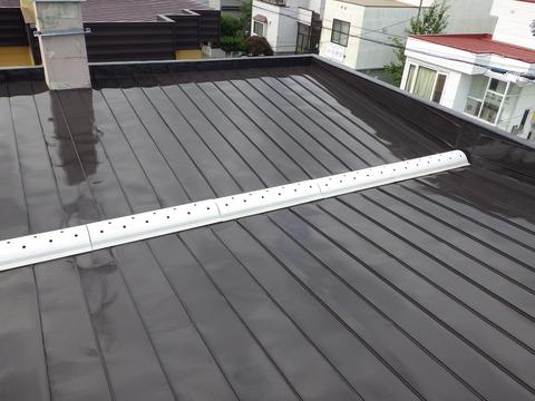 煙突止水処理後に屋根塗装完了