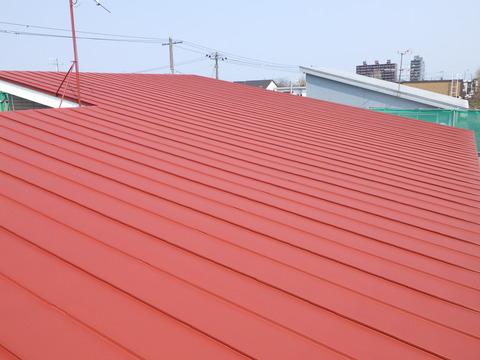 赤錆色サビ止めで全面錆止め塗装です