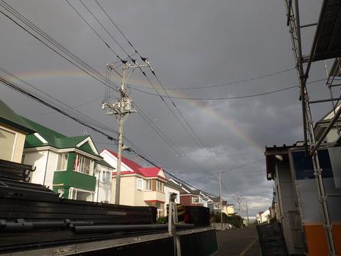 地震前日の夕方には虹が出ていた
