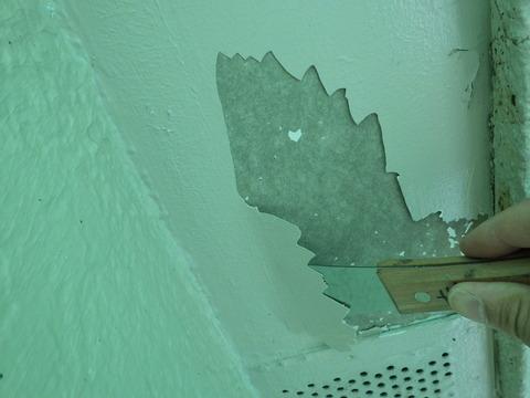 軒天井に外壁塗料をそのまま塗ったので剥がれている