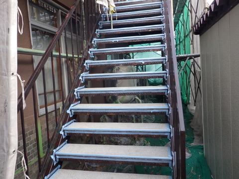 階段床防水作業、端末シーリング