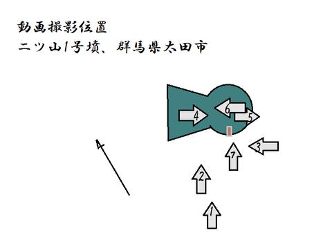 動画撮影位置二ツ山古墳(太田市)21年6月2日作成