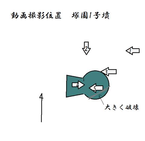 PNG 動画撮影位置 塚園1号墳(熊本市)21年4月10日作成