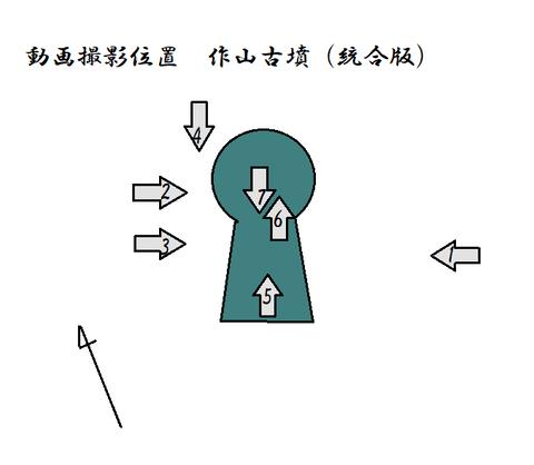 動画撮影位置 作山古墳(統合版)21年7月8日