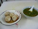 生煎とカレー風味牛肉スープ