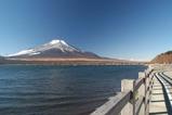 山中湖越しの富士山右は遊歩道