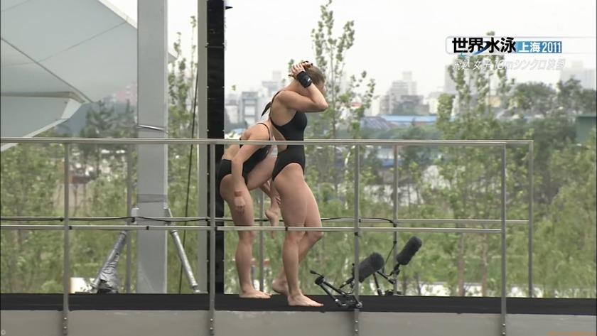 2011世界水泳 飛込女子10Mシンクロ決勝 キャプチャー画像「12枚」