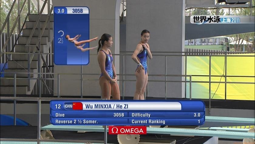 2011世界水泳 飛込女子3Mシンクロ決勝 上海 競泳水着「16枚」