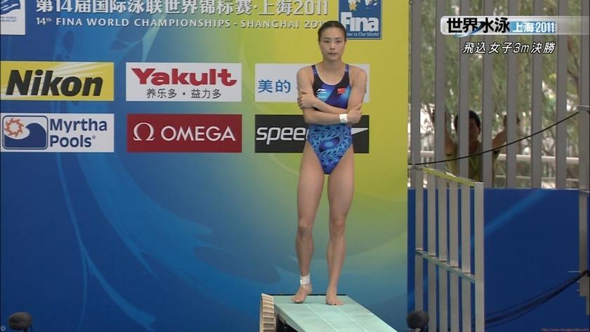 2011世界水泳 飛込女子3M決勝 Wu Minxia 中国 競泳水着画像