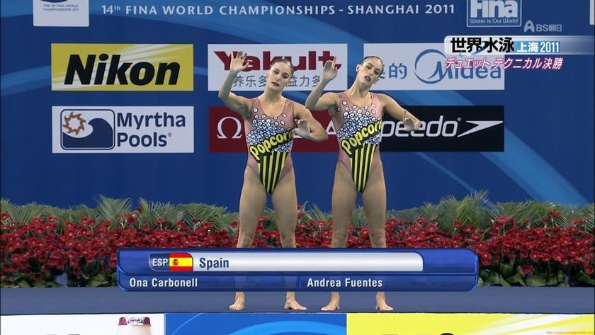 2011世界水泳 シンクロデュエットテクニカル決勝 競泳水着画像「16枚」