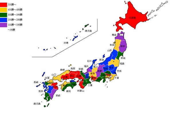 日本地図 投手勝ち数