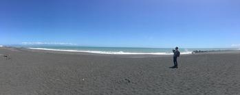まめも走った大浜海岸