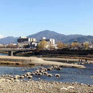 鴨川デルタと比叡山