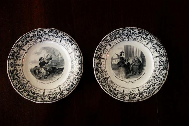 仏Creil絵皿1,4 (1)