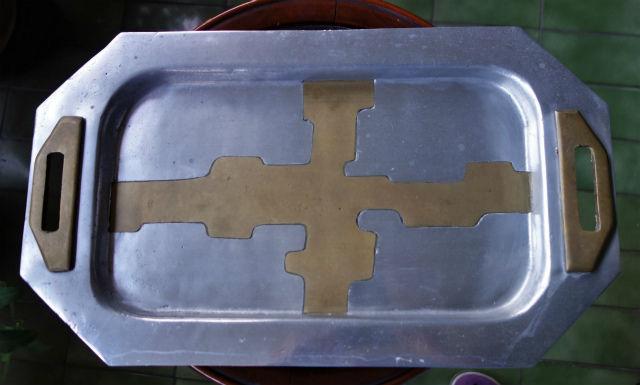 厚手アルミ長方形トレイ (1)