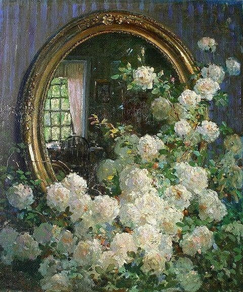Flowers and Mirror ,by Albert Fuller Graves