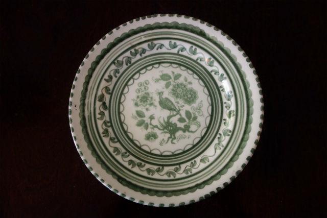 トレドのグリーン絵皿 (13)