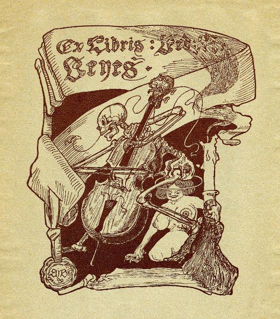Bookplate of Bedřich Beneš Buchlovan 1909