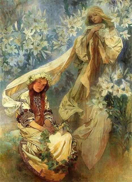 Alphonse Mucha - Madonna of the Lilies