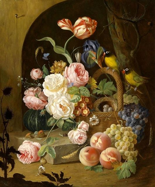 Josef Lauer (1818-1881) Large Decorative Still Life with Roses
