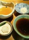 山椒の塩・醤油ベースの特製タレ・天つゆ