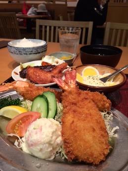 海老どて食堂 海老ふりゃ〜食べ比べ定食 1580円 (1)