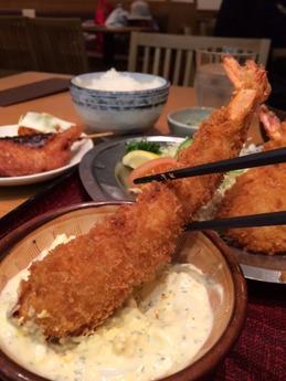 海老どて食堂 海老ふりゃ〜食べ比べ定食 1580円 (2)