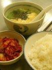 ごはん中(210円)、たまごスープ(420円)、キムチ(262円)