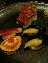 飯物(鱧寿司と野菜寿司)