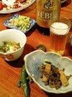 ビールと3品