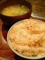 明太子ご飯、お味噌汁