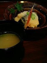 箸洗(そば湯)、先附(夏野菜の利休餡かけ)