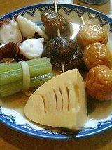 蛸、フキ、筍、椎茸、さつま串