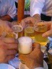 ビールで乾杯です。