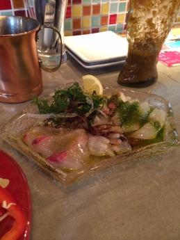 炭火とワイン 鮮魚のカルパッチョ 680円